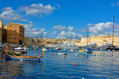 Valletta Marina, Malta Beautiful Landmarks, Travel Europe. La Valletta, capital of Malta has beautiful buildings and a lot of churchs, in the old town area Stock Photography