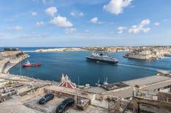 La Valletta Grand Harbour, Malta. La Valletta Grand Harbour as seen from Upper Baracca Gardens, Malta Stock Photos