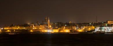 La Valletta Malta alla notte Fotografie Stock Libere da Diritti