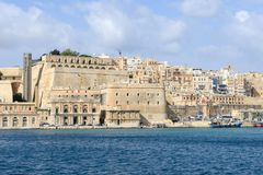 View at La Valletta, the capital city of Malta. La Valletta, Malta - 2 Novembre 2017: View of Valletta, the capital city of Malta Royalty Free Stock Photography