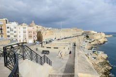 View at La Valletta, the capital city of Malta. La Valletta, Malta - 2 Novembre 2017: View of Valletta, the capital city of Malta Royalty Free Stock Images