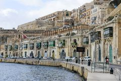 View at La Valletta, the capital city of Malta. La Valletta, Malta - 2 Novembre 2017: View of Valletta, the capital city of Malta Royalty Free Stock Photos