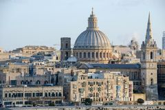 View of Valletta, the capital city of Malta. La Valletta, Malta - 2 Novembre 2017: View of Valletta, the capital city of Malta Royalty Free Stock Images