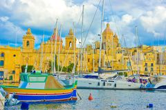 Valletta Marina, Malta Landmarks, Travel Europe. La Valletta, capital of Malta, has buildings from the 16th century builted by the Hospitaller Knights Royalty Free Stock Photo