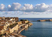 La valletta old town in malta. La valletta old town harbour in malta Royalty Free Stock Photo