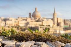 La Valletta sotto il sole dorato, capitale di Malta Fotografie Stock Libere da Diritti