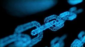 la valuta cripto del blockchain della catena di blocco 4K ha collegato il primo piano a catena blu multifunzionale della particel illustrazione vettoriale