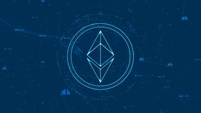 La valuta cripto della catena di blocco con valuta di ethereum firma in Cyberspace digitale royalty illustrazione gratis