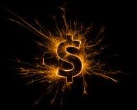 La valuta del dollaro firma dentro scintilla Immagine Stock Libera da Diritti