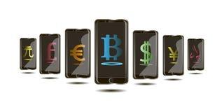 La valuta di Internet di Bitcoin, unità monetarie nel telefono nel 3d progetta Fotografie Stock Libere da Diritti