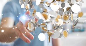 La valuta di volo della tenuta dell'uomo d'affari conia nel suo renderi della mano 3D Immagini Stock