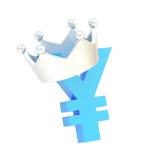 La valuta di Yen firma dentro una corona Fotografie Stock Libere da Diritti