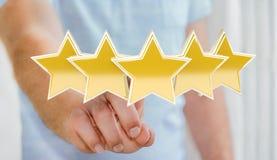 La valutazione dell'uomo d'affari stars con la sua rappresentazione della mano 3D Fotografie Stock