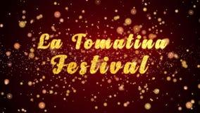 La-van de de groetkaart van het tomatinafestival de tekst glanzende deeltjes voor viering, festival vector illustratie