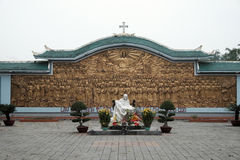 La Vang holy land, Quang Tri, Vietnam. QUANG TRI, VIET NAM- FEB 20, 2016: Blessed Virgin Mary at La Vang holy land with ancient architect, a place for Christian Royalty Free Stock Photography