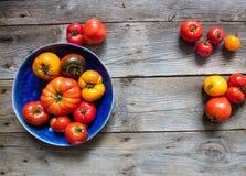 La variété d'été a coloré des tomates pour le jardinage sain au-dessus du bois Photo stock