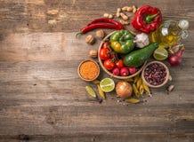 La variété de légumes, l'espace pour le texte est partie, topview Images stock