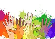 La variété de mains humaines sur le fond de l'aquarelle éclabousse Photo stock