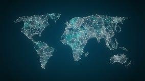 La varia icona della tecnologia di sanità collega la mappa di mondo globale, punti fa la mappa di mondo 2 royalty illustrazione gratis