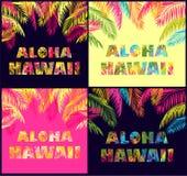 La variación de las letras de Aloha Hawaii con las hojas de palma coloridas para la moda de la camiseta imprime stock de ilustración