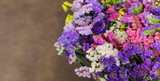 La varietà di limonium sinuatum o di statice Salem fiorisce nei colori blu, lilla, viola, rosa, bianchi, gialli nel negozio greco Fotografia Stock