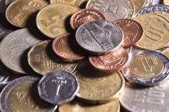 La varietà di monete si chiude su Fotografie Stock