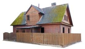 La vecchi casa e recinto di legno distrutti di costruzione di massa del Fotografie Stock