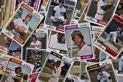 La vecchia annata delle schede di baseball di MLB mette in mostra gli oggetti da collezione Immagine Stock Libera da Diritti