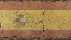 La vecchia annata di lerciume ha sbiadito il regno della bandiera della Spagna Immagine Stock