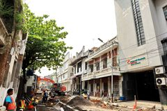 La vecchia area della citt? di Samarang sta effettuando intensivamente i rinnovamenti immagini stock libere da diritti