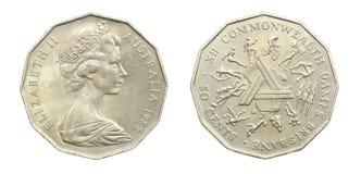La vecchia Australia una moneta dai 50 centesimi Immagini Stock Libere da Diritti
