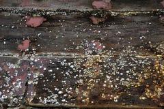 La vecchia barca di legno ha balani sopra Fotografie Stock Libere da Diritti