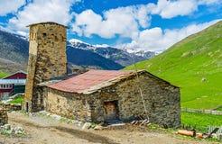 La vecchia casa di Svan Fotografia Stock Libera da Diritti