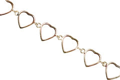 La vecchia catena del metallo fatta di forma del grande cuore si collega Fotografie Stock