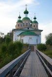 La vecchia cattedrale di Smolensky dell'icona della madre di Dio nella penombra Olonets, Carelia Fotografie Stock