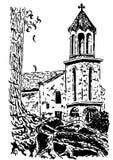 La vecchia chiesa europea, Vector lo schizzo disegnato a mano dell'inchiostro Immagine Stock
