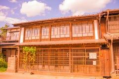 la vecchia città di Unno-juku è una città di posta e dozzine di vecchie costruzioni meravigliosamente sono state conservate per i fotografia stock