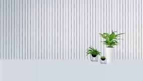 La vecchia decorazione della parete con la pianta verde in vase-3D rende Immagine Stock