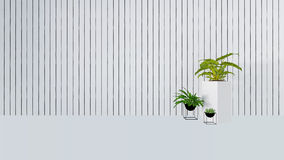 La vecchia decorazione della parete con la pianta verde in vase-3D rende Fotografia Stock