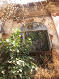 La vecchia finestra con la terracotta ha piastrellato il tetto Dettagli architettonici da Goa, India immagine stock