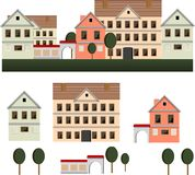 La vecchia illustrazione di vettore della città dentro appiattisce lo stile Fotografia Stock