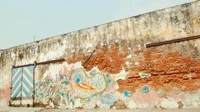 La vecchia parete urbana Fotografia Stock Libera da Diritti
