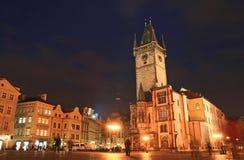 La vecchia piazza alla notte Immagini Stock Libere da Diritti
