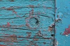La vecchia pittura è pelata un alveare di legno Immagini Stock
