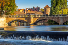 La vecchia ponte-Norimberga-Germania di pietra Fotografie Stock