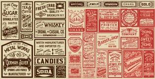 La vecchia pubblicità del pacchetto mega progetta ed etichette - Vector il illustra Fotografia Stock