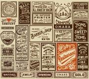La vecchia pubblicità del pacchetto mega progetta ed etichette - Vector il illustra Fotografie Stock Libere da Diritti