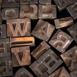 La vecchia stampante Letters Spell fuori fa la guerra Fotografia Stock Libera da Diritti