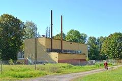 La vecchia stanza modernizzata della caldaia a gas Znamensk, regione di Kaliningrad Immagini Stock Libere da Diritti