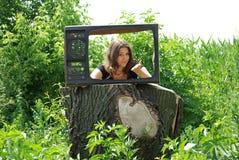 La vecchia TV in villaggio Immagini Stock